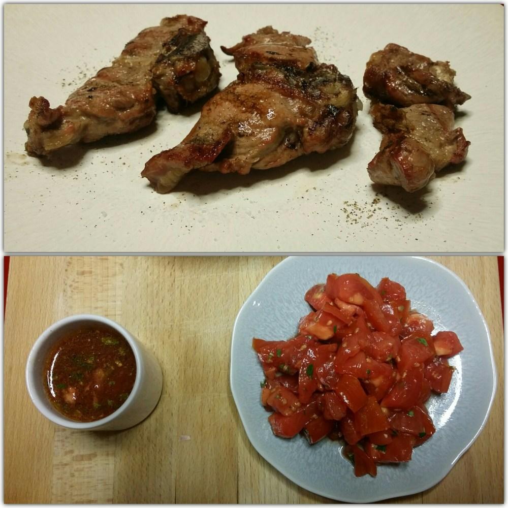 Barons d'agneau grillés. Compotée de tomates et vinaigrette à la coriandre.