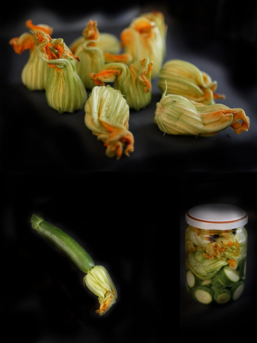Pickles de courgettes et fleurs