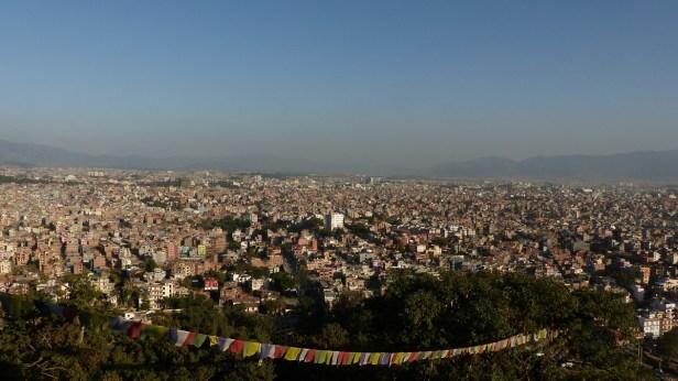 Vue sur Katmandou au soleil couchant