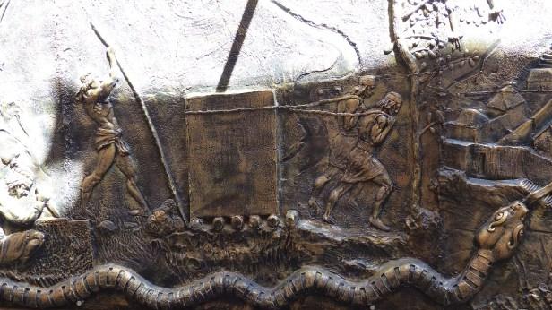 Illustration, à Aguas Calientes, du travail des Incas