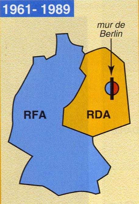 Carte RFA/RDA et Berlin Est/Berlin Ouest