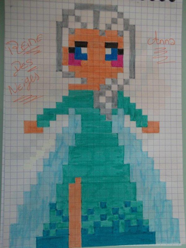 Pixel Art La Reine Des Neiges : pixel, reine, neiges, Pixel, Princesse, Disney, Reine, Neige