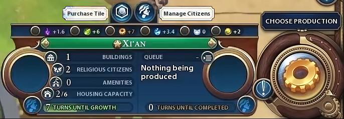 Интерфейс города в Sid Meier's Civilization VI