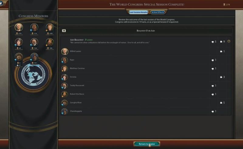 Civilization VI — Gathering Storm — Кто и за что голосовал во время специальной сессии