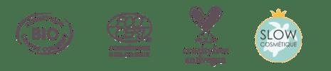 Logo cosmebio, ecocert, vegan & cruelty free, slow cosmetique