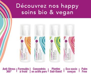 Boutique Les Happycuriennes, la 1ère ligne de soins slow cosmétique bio & vegan anti-stress cutanés 360° avec 100% de plantes heureuses locales du Sud-Ouest