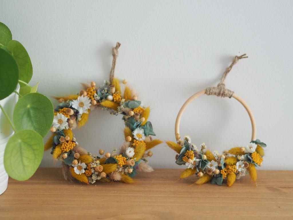 couronne anneau fleurs sechees jaune bambou personnalisé personnalisable customisable article boutique