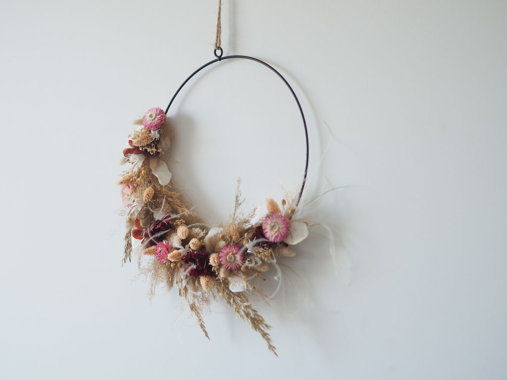 demi couronne anneau fleurs sechees rose blé rouge personnalisé personnalisable customisable article boutique