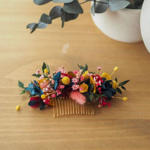 Grand peigne en fleurs séchées