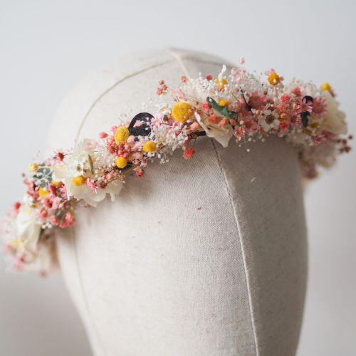Couronne à porter en fleurs séchées