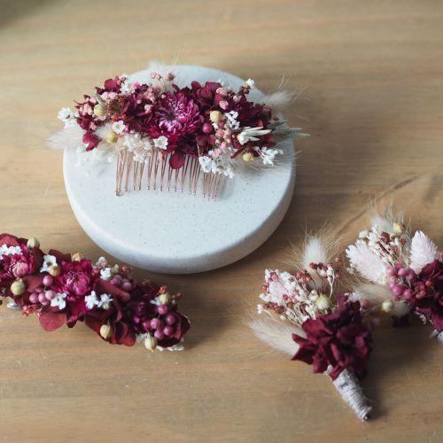 Boutonnière en fleurs séchées
