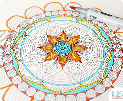 comment dessiner un mandala avec la bloggeuse jiji hook. Black Bedroom Furniture Sets. Home Design Ideas