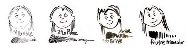 dessin de différents têtes, pour tester différents stylos et sa qualité