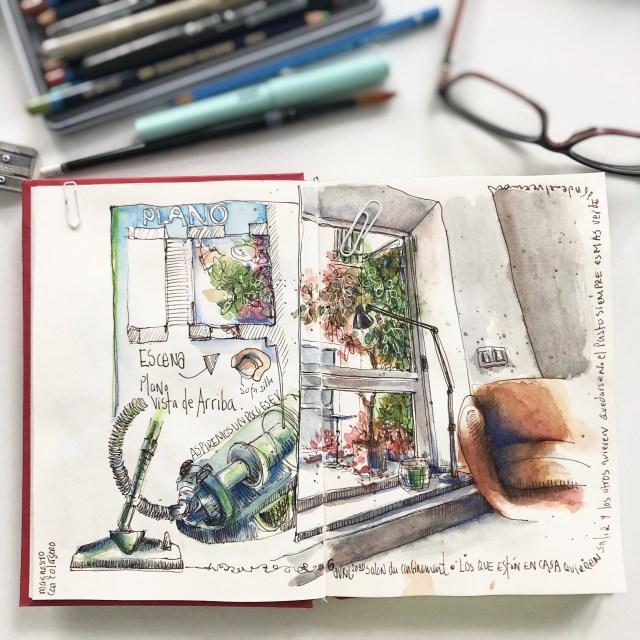 carnet de dessin carnet de voyage quarantaine, avec la vue vers le patio avec des plates. Fauteuil beige comfortable et un aspirateur très moderne. Sur la partie supérieure gauche il y a le plan de la pièce.