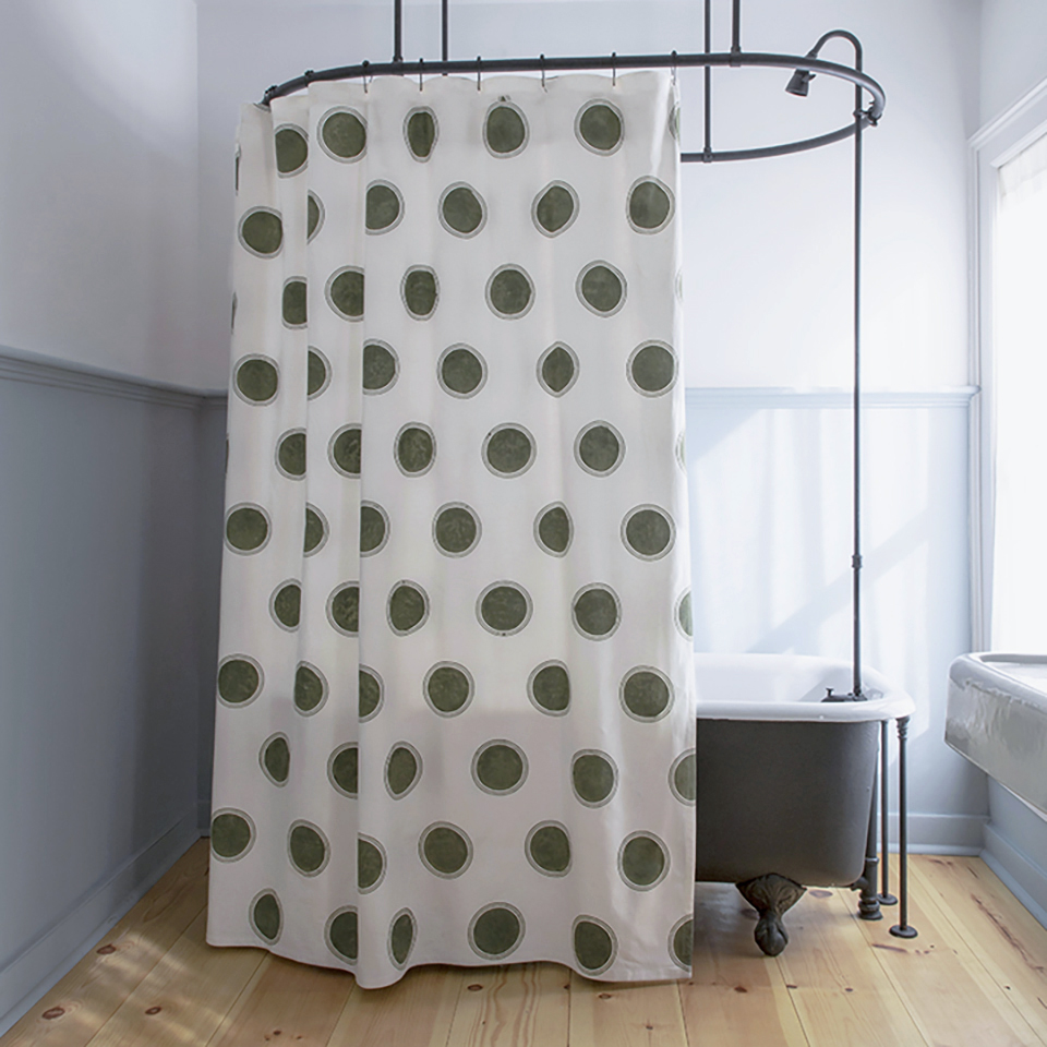 Dot Shower Curtain In Olive Les Indiennes
