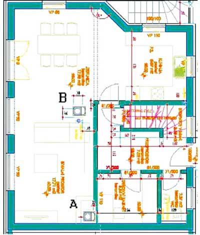 Projektirana je manj ugodna lokacija dimnika, označena kot »A«, kasneje je lokacijo dimnika in peči usklajena in označeno z »B«.