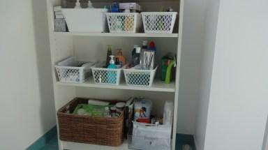 Bibliothèque BILLY : Ikea (25,00€) & Panières en plastiques : Action