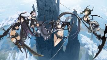 konachan-com-112574-black_gold_saw-black_rock_shooter-clouds-horns-justminor-kuroi_mato-scythe-sky-strength-sword-takanashi_yomi-thighhighs-twintails-weapon