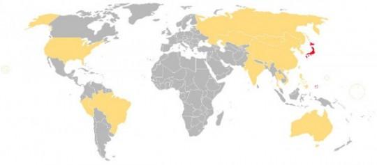 en rouge, pays dont la langue officielle est le Japonais. En orange, pays où une diaspora japonaise est présente.