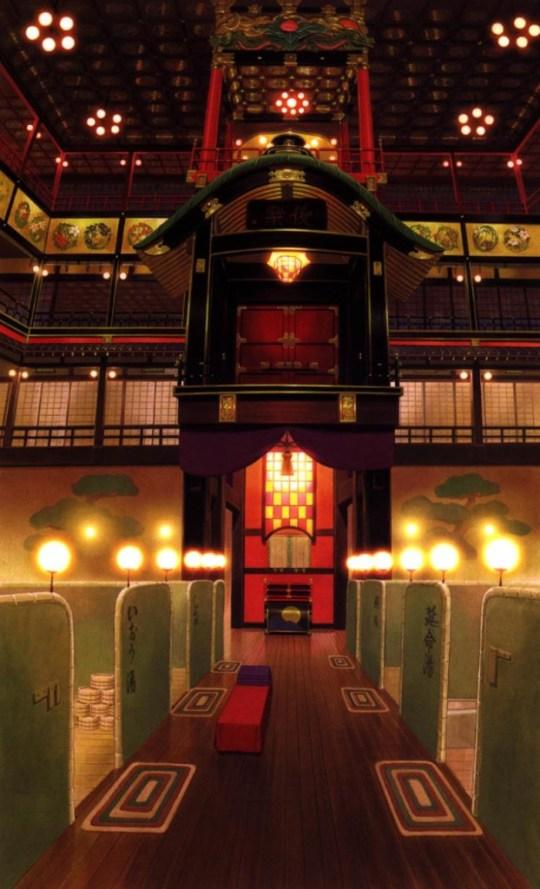 A l'intérieur des bains, le voyage de Chihiro, par Oga Kazuo.