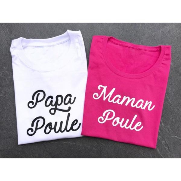 """Duo de Tee-shirts """"Papa poule & Maman poule"""""""