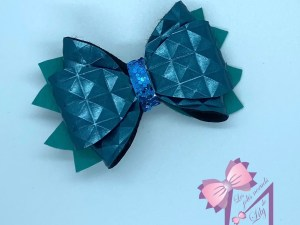 mini barrette noeud bleu création coiffure bébé