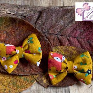 barrettes noeud minis ocre renard automne petite fille bebe création