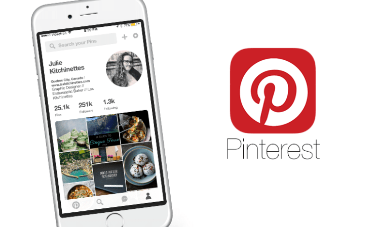 Application PINTEREST sur iphone