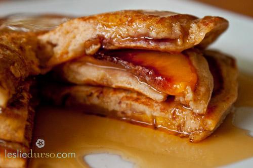 Whole Wheat Peach Pancakes