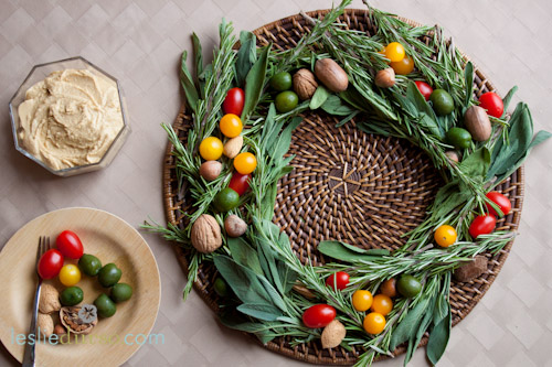 A Festive Antipasti Wreath