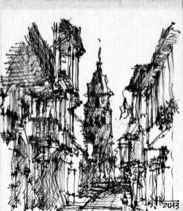 Winner Non-Registered Architect, Harold Vinasco, Designer; Beame Architectural Partnership Napkin Sketch Title: Miami My Colonial Roots