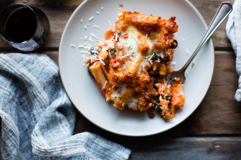 cheesy baked chard rigatoni