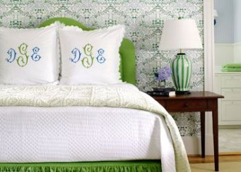 Monogram, monogram! I also really love wallpaper or, even better, upholstered walls in a master suite. It adds even another layer to the cacoon of coziness!