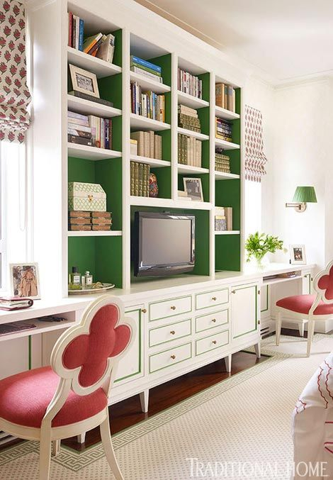 This is perfect! I LOVE the green shelves!! Traditional Home Magazine