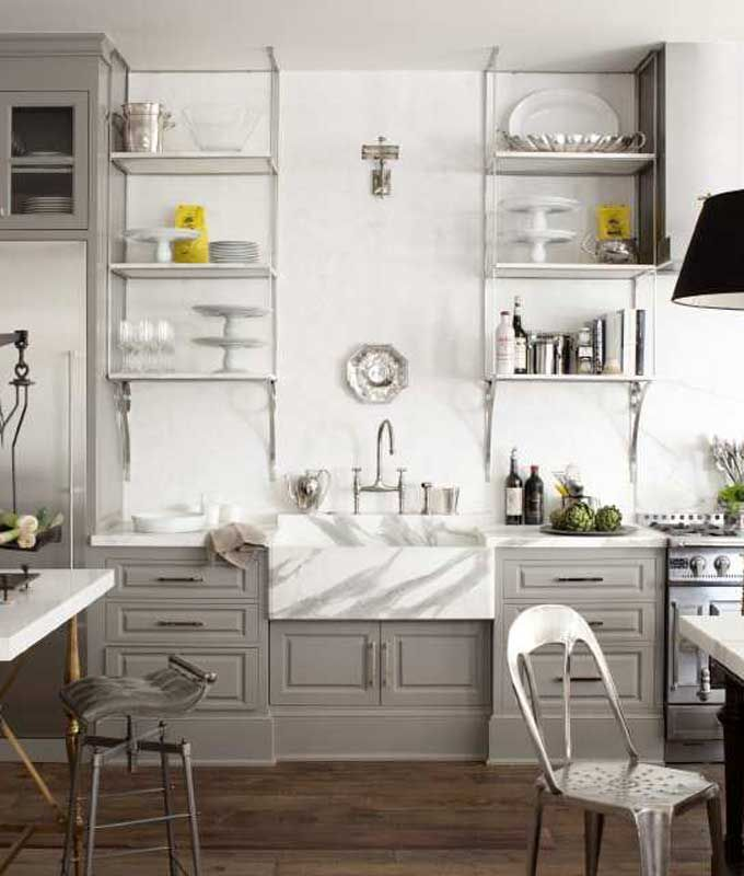 Grey and white are so classic in the kitchen...I love a sink big enough to bath a baby in! latimes.com