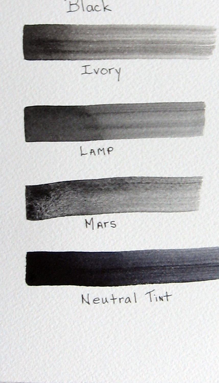 Ivory Black Vs Lamp Black : ivory, black, Working, Black, White, Watercolor, Leslie