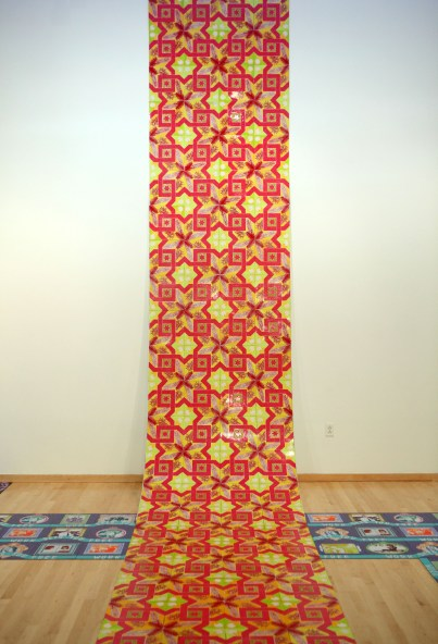 Sukkot Ramp (via Glitzianers), 4' x 8' x 4' with tile extensions, mixed media: screen-prints on linoleum tile, gold glitter, and wood, 2011.