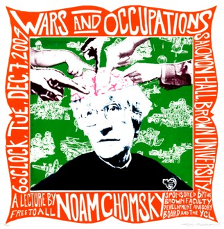 "Noam Chomsky Wars and Occupations, 16"" x 16"", screenprint, 2004."