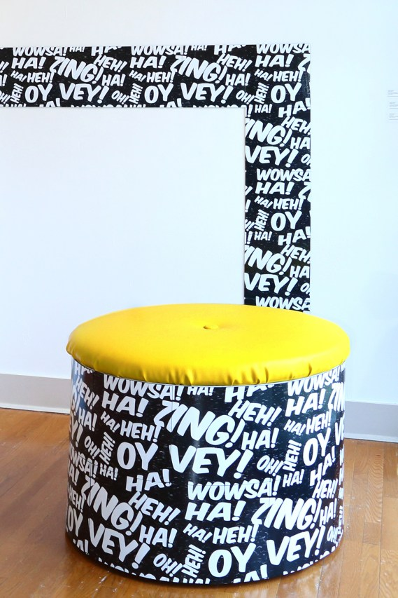 Oy Vey Puff, 3.5' x 3.5' x 2.25', mixed media: screenprints on linoleum, wood, foam, and faux leather vinyl, 2013. Urban Pop, Main Line Art Center, Haverford, PA. Curated by Amie Potsic.