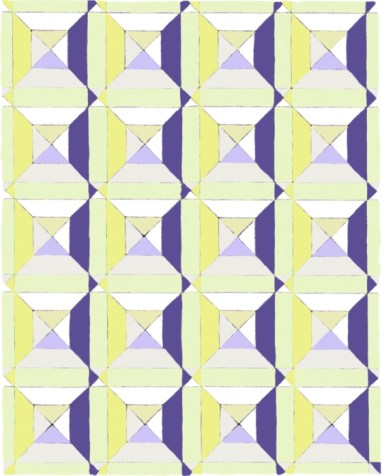 Coastal is the name of the color way for this geometric image. The colors bring to mind the colors of the beach in summer, maybe sailboats out on the ocean.