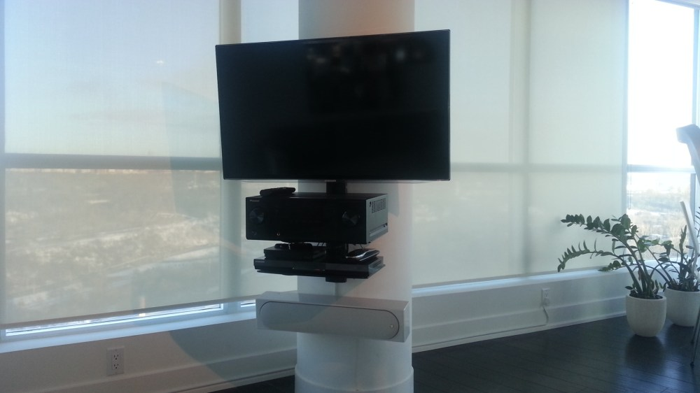 medium resolution of sound bar on circular concrete pillar bottom of tv with in house customized wall mounting bracket