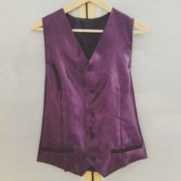 Gilet violet cousu main