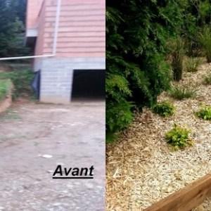 creation d'un escalier en dallage entouré de traverses bois + plantation et paillage