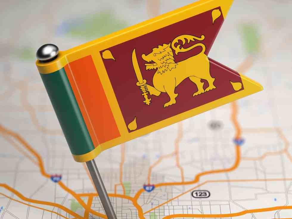 Drapeau srilankais sur une carte