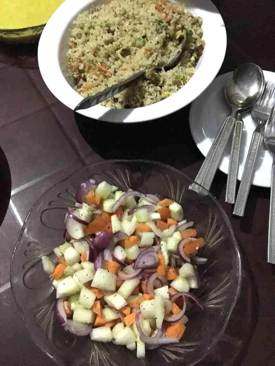 Repas dans notre guest house