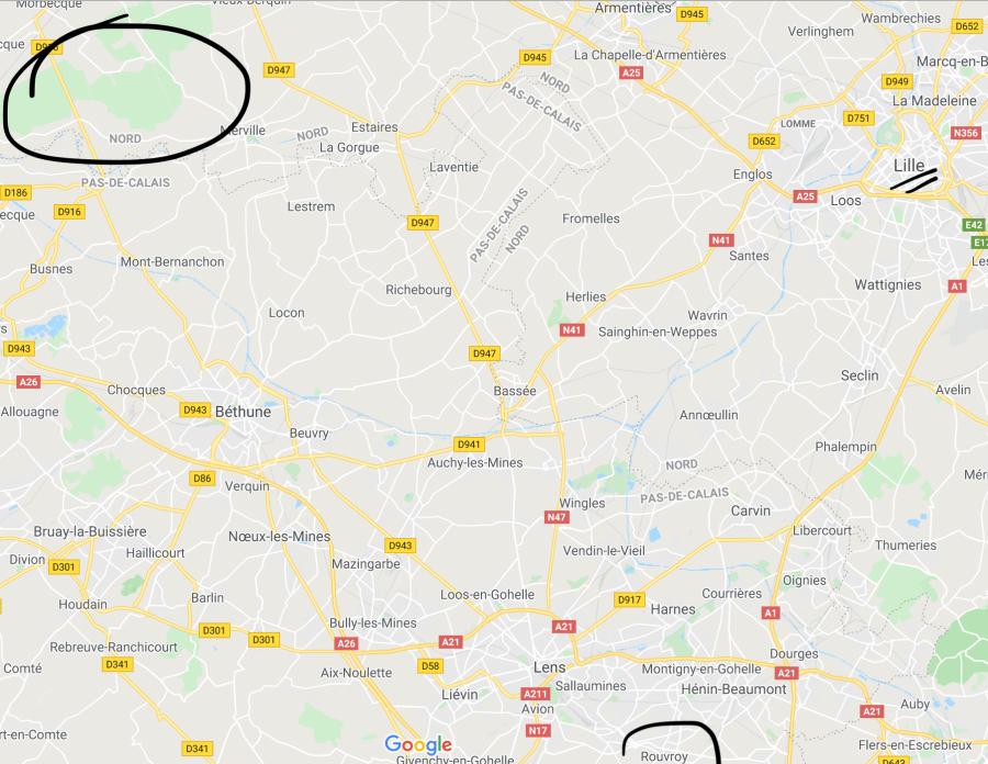 carte itinéraire entre Rouvroy et Morbecque