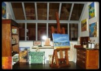 vitrine miniature atelier de peintre