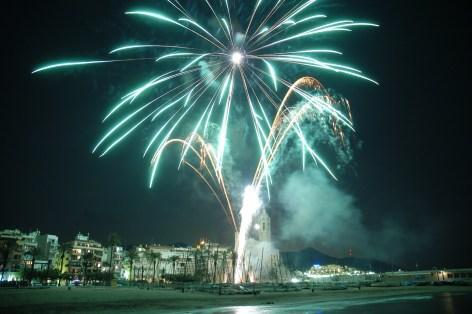 Castell de focs artificials a Sitges