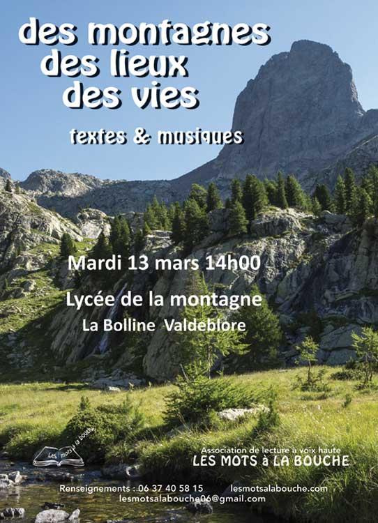 des montagnes, des lieux, des vies lecture scenique les mots a la bouche lecture voix haute