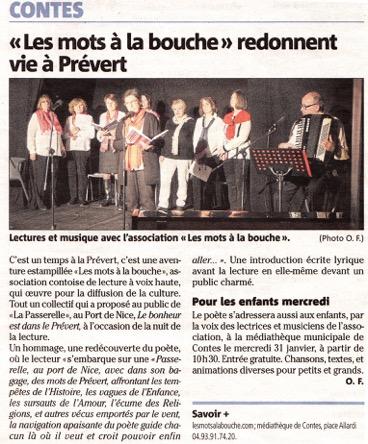 """article du journal """"Nice Matin"""" mettant presentant l'association les mots à la bouche"""